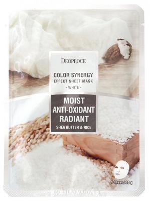 Маска с маслом ши и рисовой водой DEOPROCE Color synergy effect sheet mask white 20г: фото