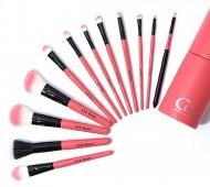 Набор из 12 кистей для макияжа в розовом цилиндрическом чехле CORINGCO COC Pink in pink make up brush set: фото