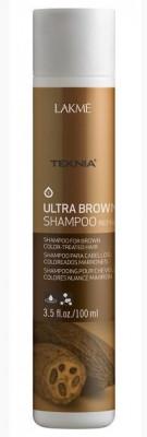 Шампунь для поддержания оттенка окрашенных волос ULTRA BROWN SHAMPOO Кроичневый 100мл: фото