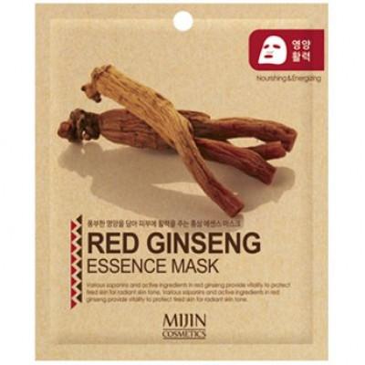 Маска для лица тканевая красный женьшень Mijin RED GINSENG ESSENCE MASK 25г: фото