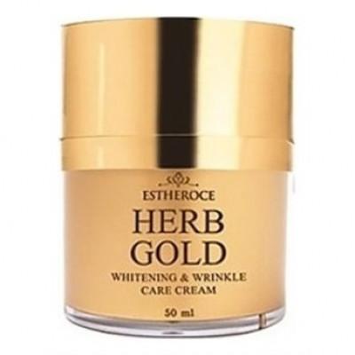 Крем для лица омолаживающий DEOPROCE ESTHEROCE HERB GOLD WHITENING & WRINKLE CARE CREAM 50ml: фото