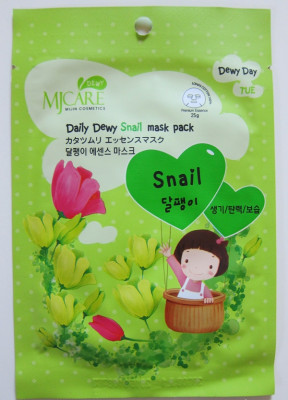 Маска тканевая с экстрактом слизи улитки Mijin Care Daily Dewy Snail mask pack 25 гр: фото