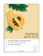 Маска тканевая с экстрактом папайи JUNGNANI REAL FRESH TROPICAL MASK PAPAYA 25мл: фото