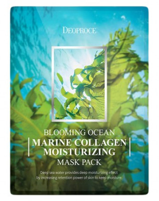 Набор тканевых масок с морским коллагеном DEOPROCE BLOOMING MARINE COLLAGEN MOISTURIZING MASK PACK 25г*5: фото