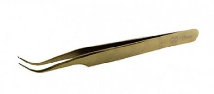 Пинцет для ресниц изогнутый Flario С-Gold: фото
