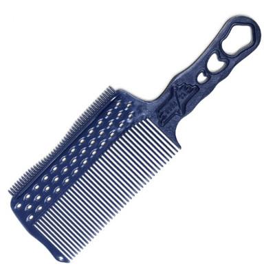 Расчёска с ручкой и зубцами на обушке с направляющей рельсой для стрижки под машинку Y.S.PARK синий: фото